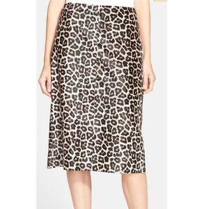 Theory Leather Cheetah Skirt